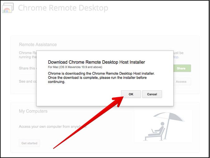download chrome remote host installer