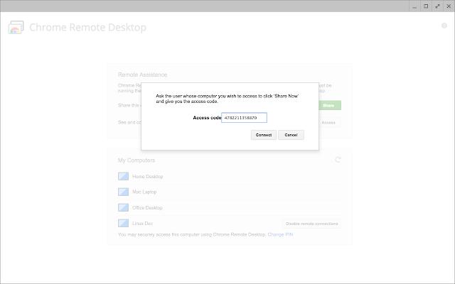remote desktop host access code verification