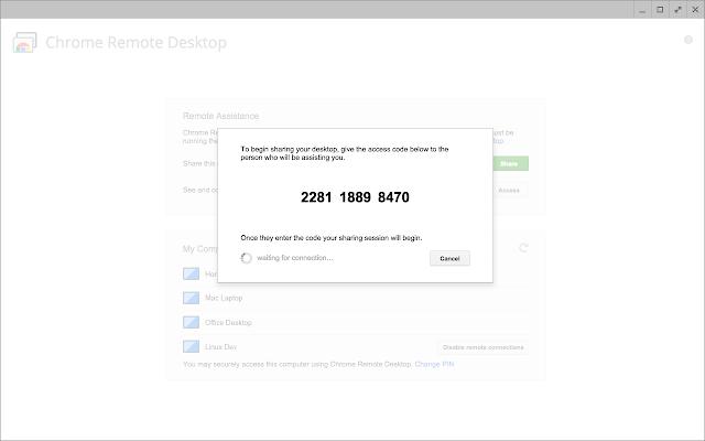 remote desktop host access code