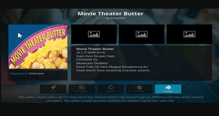Movie Theatre Butter addon