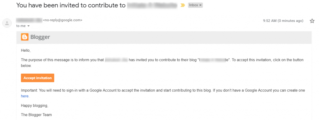 blogger invitation email